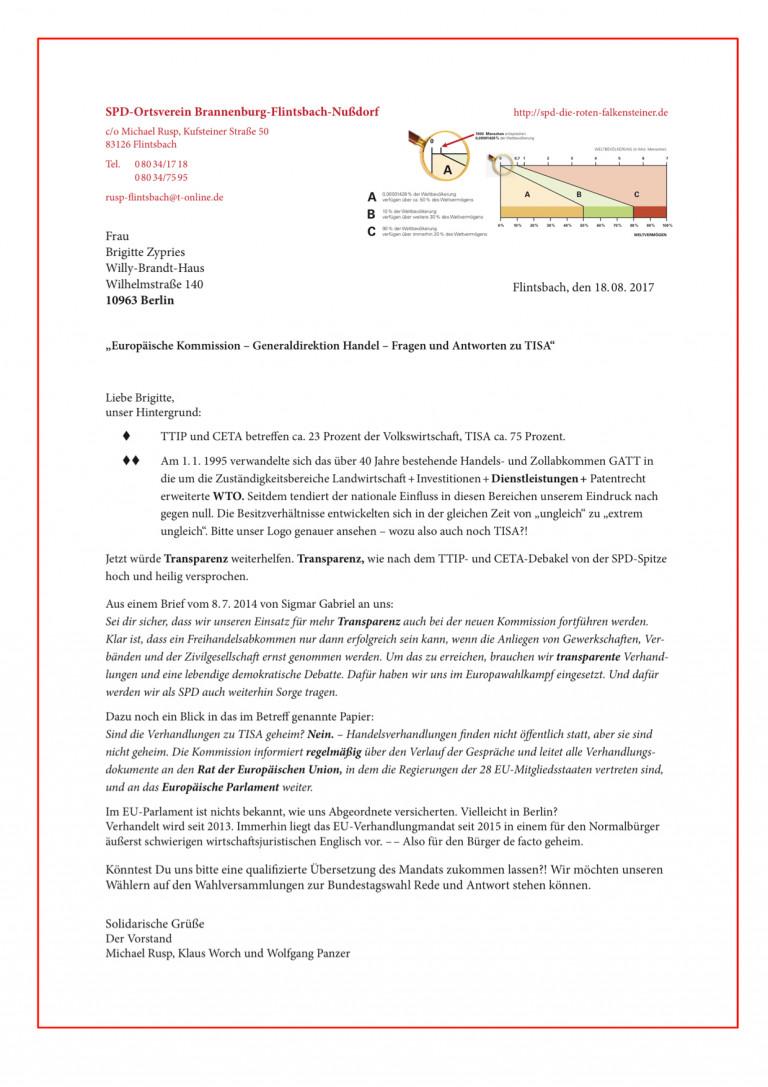 Brief an Zypries